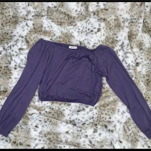 Purple Off The Shoulder Crop Top-Size S